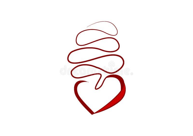 Herz auf einer Schnur für Ikone oder Logo vektor abbildung
