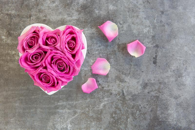 Heart of roses in pink on grey background. From above, free text space royalty free stock photography