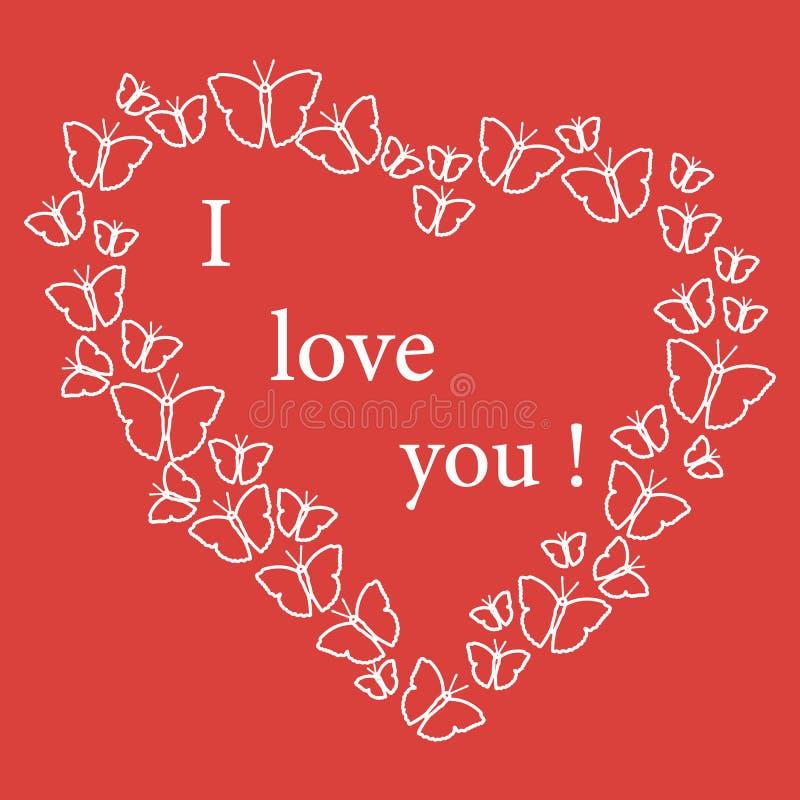 Herz bestanden aus vielen Schmetterlingen und den W?rtern: Ich liebe dich Design f?r Fahne, Plakat oder Druck Gru?karte Valentins vektor abbildung