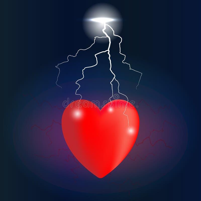 Herz in den Schmerz geschlagen durch Blitz vektor abbildung