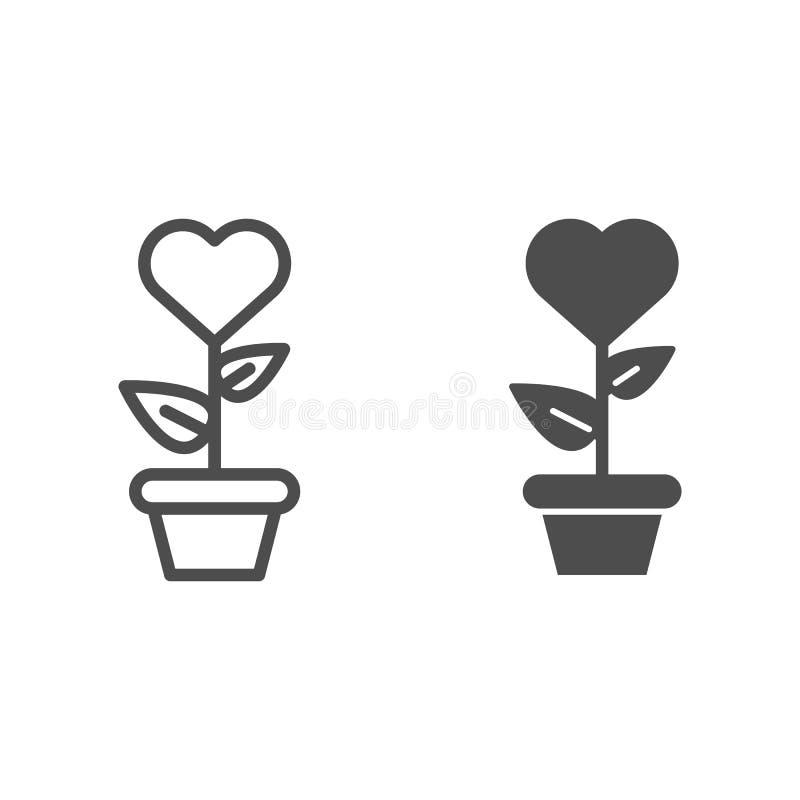 Herz in der Blumentopflinie und in der Glyphikone Herz formte Blume in der Topfvektorillustration, die auf Weiß lokalisiert wurde stock abbildung
