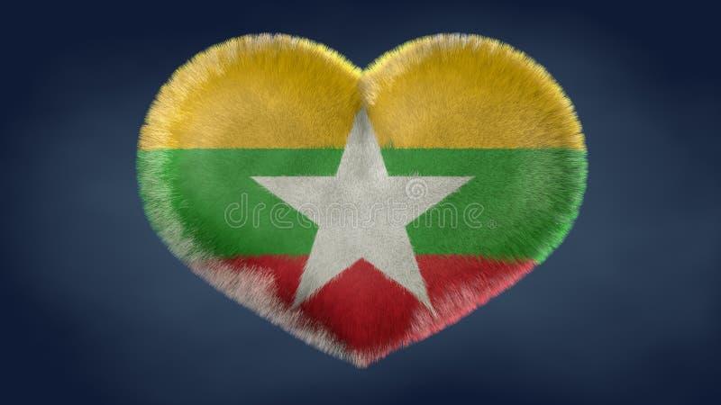 Herz der Flagge von Birma stock abbildung
