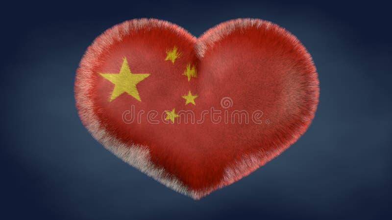 Herz der Flagge von China lizenzfreie abbildung