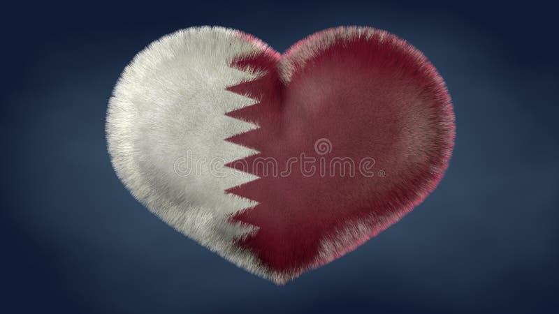 Herz der Flagge von Katar stock abbildung