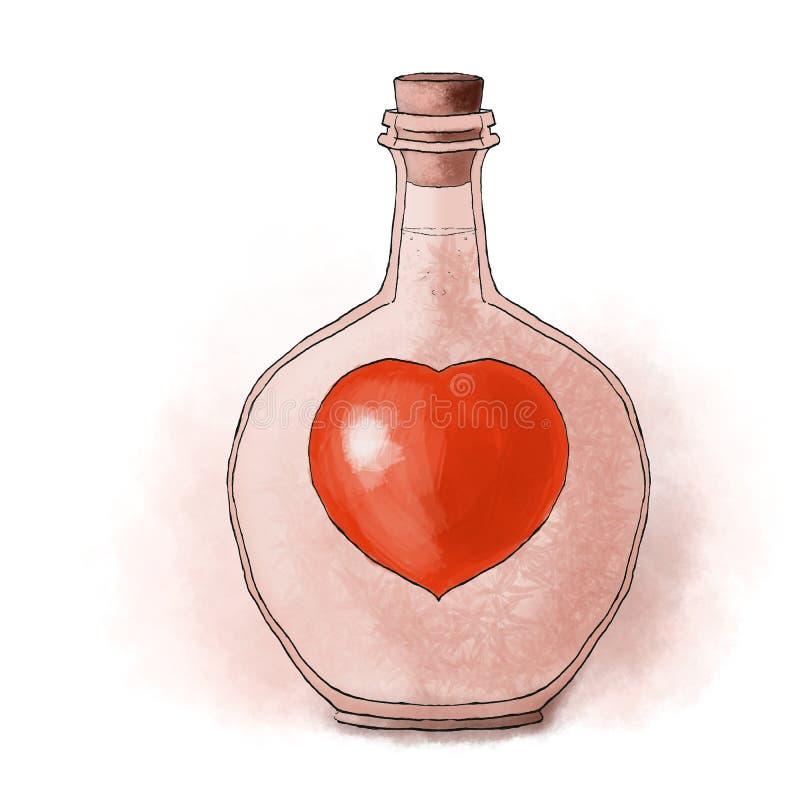 Herz in der Flasche lizenzfreie abbildung