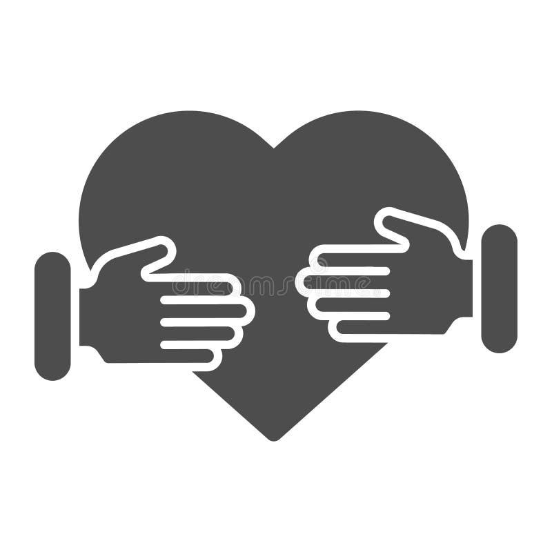 Herz in der Handfesten Ikone Zwei H?nde mit der Herzvektorillustration lokalisiert auf Wei? Sorgfalt Glyph-Artentwurf, entworfen vektor abbildung