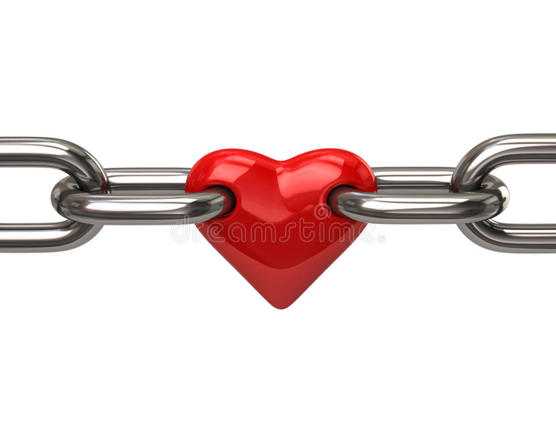 Herz in der Kette lizenzfreie abbildung
