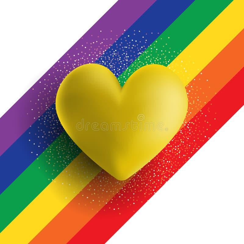 Herz des Gold 3D auf einem gestreiften Hintergrund des Regenbogens lizenzfreie abbildung