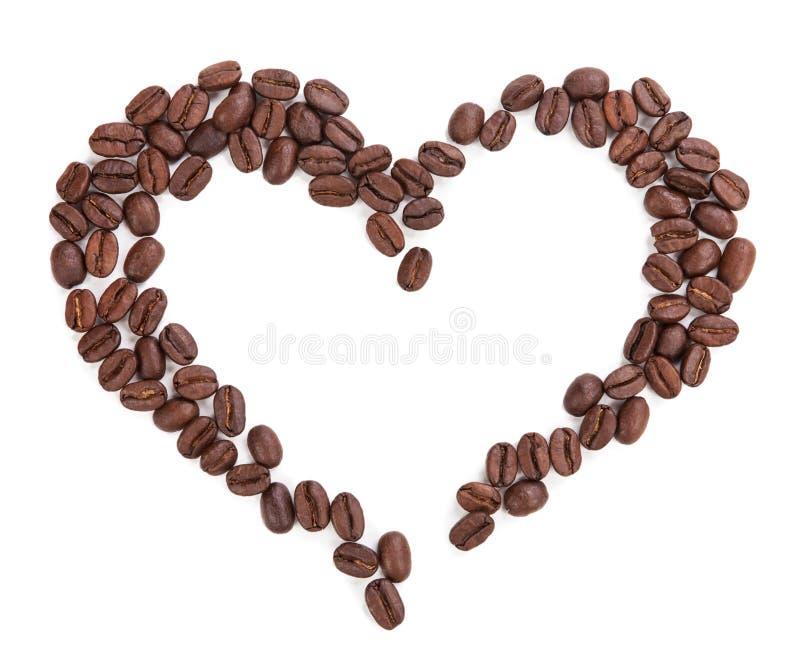 Herz des Kaffees lokalisiert auf weißem Hintergrund lizenzfreie stockfotografie