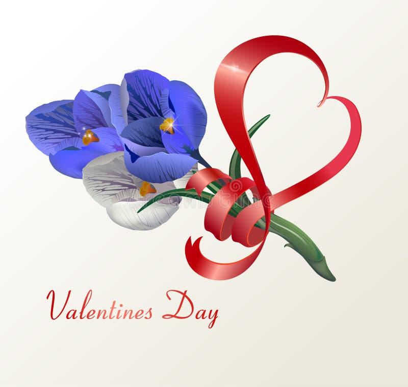 Herz ein Band mit Blumen, auf einem hellen Hintergrund, für eine Karte eines Glückwunsches, eine Fahne, für St.-Valentinstag vektor abbildung