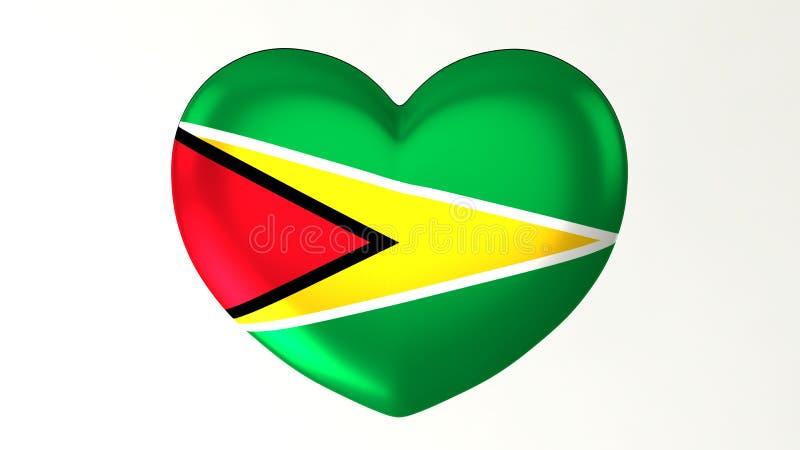 Herz-förmige Flagge 3D Liebe Guyana Illustration I vektor abbildung