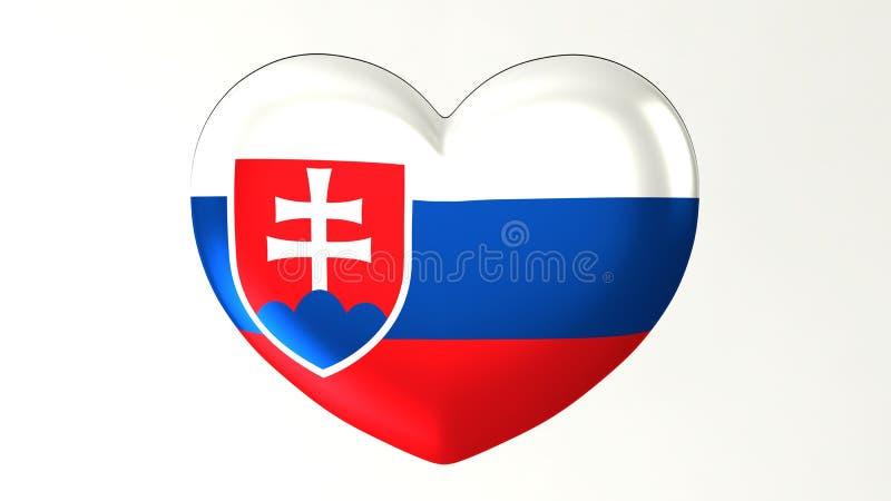 Herz-förmige Flagge 3D Liebe Slowakei Illustration I lizenzfreie abbildung