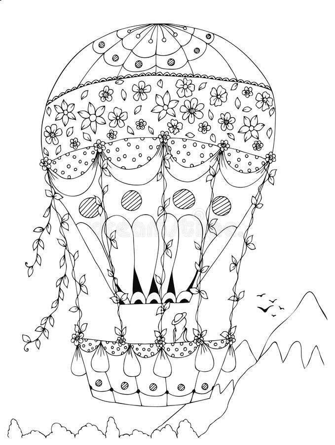 Herz-förmiger Heißluftballon, Vektordesign Valentinstag stock abbildung