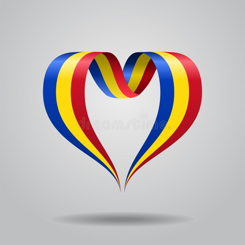 Herz-förmiges Band der rumänischen Flagge Auch im corel abgehobenen Betrag stock abbildung