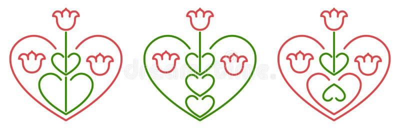 Herz-förmiges Volksmit blumenmotiv, Verzierungsmuster mit Tulpen und Herzen mit grüner und roter farbiger Vektorlinie Kunst lizenzfreie abbildung