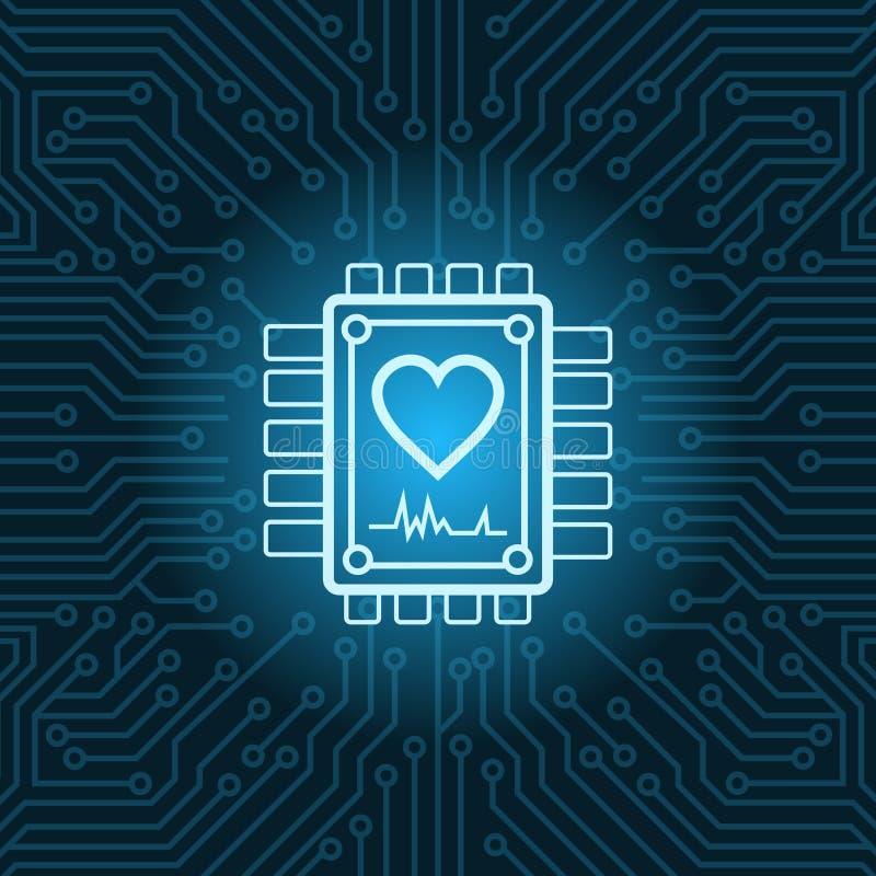 Herz-Form-Ikone auf Chip Over Blue Circuit Motherboard-Hintergrund vektor abbildung