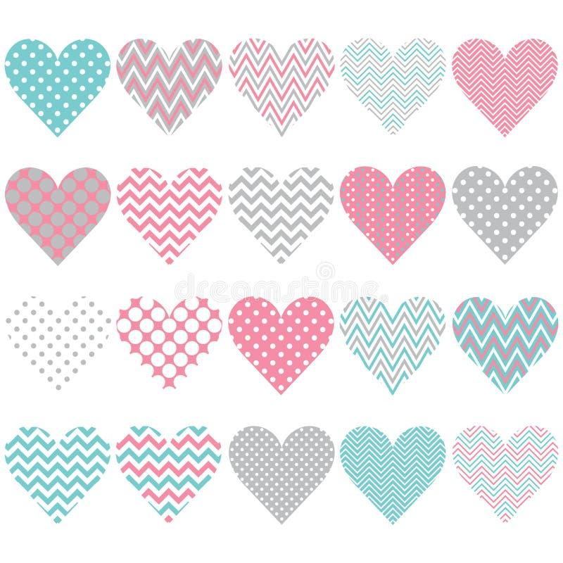 Herz-Form-Muster-Satz stock abbildung