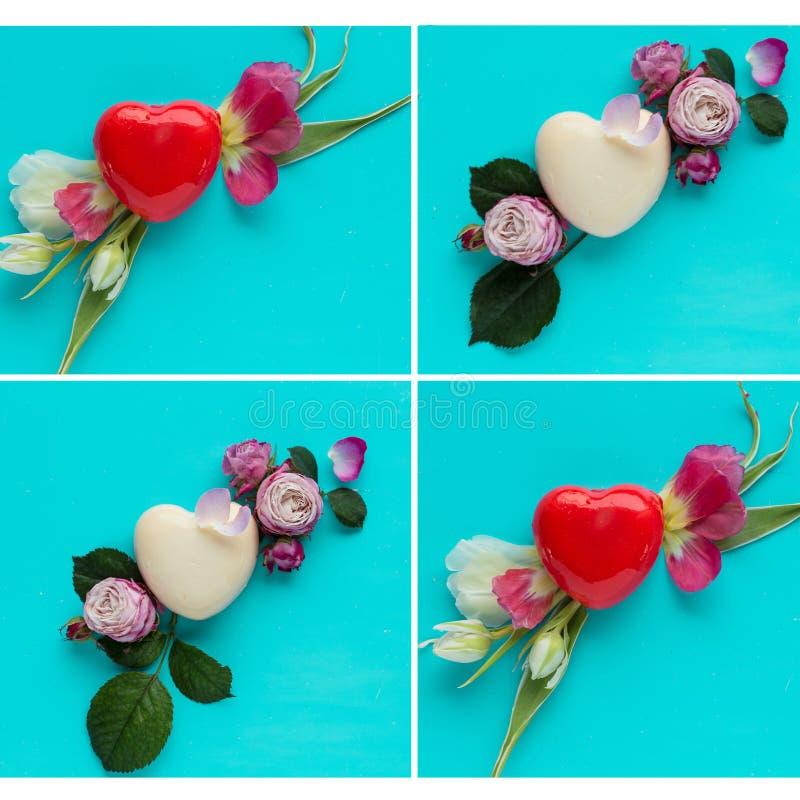 Herz formte die Kremeiskuchen, die für einen romantischen Valentinsgrußtag, Zusammenfassung eingestellt wurden lizenzfreies stockfoto