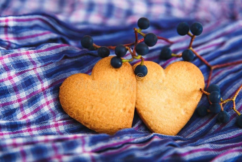 Herz formte Plätzchen und blaue Beere auf dem Farbgewebe backgrou stockfotografie
