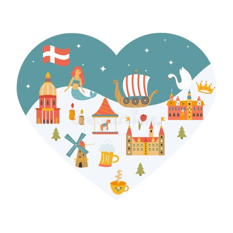 Herz formte Plakat mit Satz dänischen Symbolen lizenzfreie abbildung