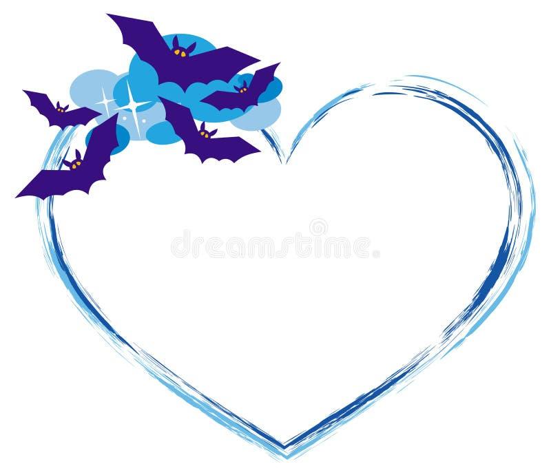 Herz formte Rahmen mit Schattenbildern von Fliegenschlägern stock abbildung