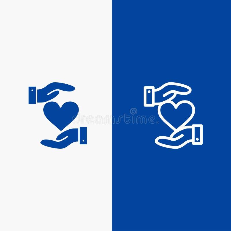 Herz, geben, blaue Fahne der übergeben, der Lieblings-, Liebes-Linie und des Glyph festen Ikone stock abbildung
