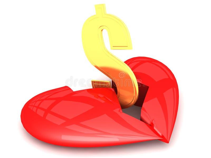 Herz gebrochen durch Geld lizenzfreie abbildung