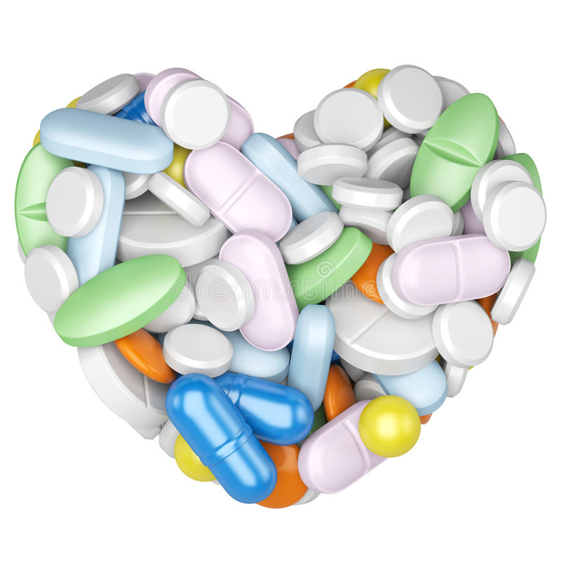 Herz gemacht von den Pillen und von den Kapseln stock abbildung