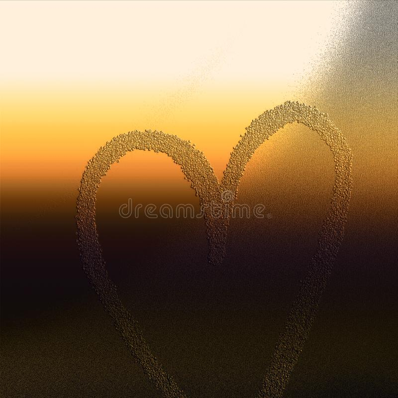 Herz geprägt auf Schmutzoberfläche Themenorientierter Hintergrund der Liebe lizenzfreie abbildung