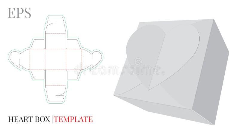 Herz-Geschenkbox-Schablone, Vektor mit gestempelschnitten/Laser schnitt Schichten stock abbildung