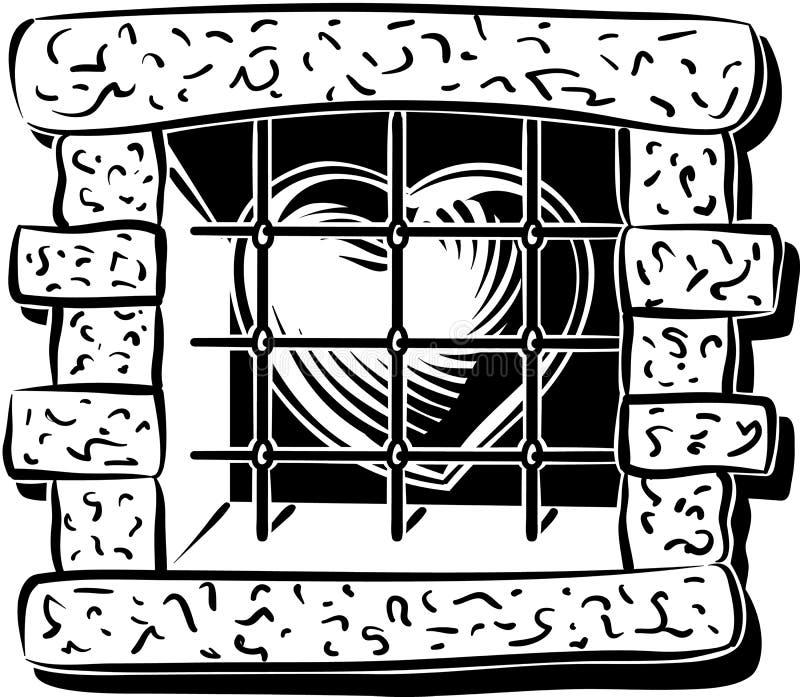 Herz hinter einem Fenster mit Stangen stock abbildung
