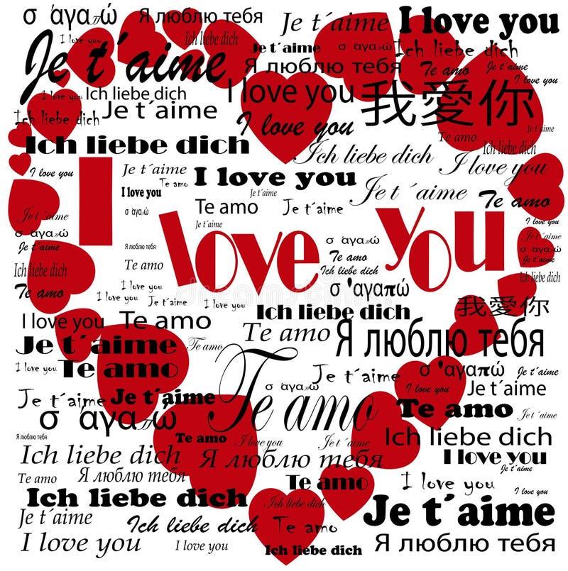 Herz Ich Liebe Dich In Den Sprachen Stock Abbildung