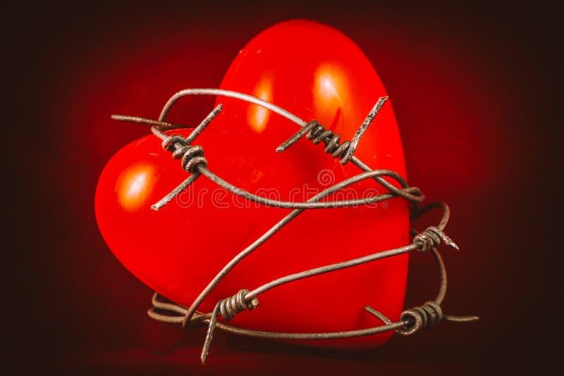 Herz im Stacheldraht auf Rot 1 lizenzfreie stockbilder