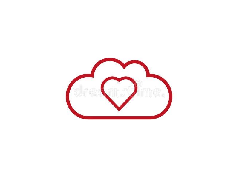 Herz innerhalb der Wolken für Logoentwurf lizenzfreie abbildung