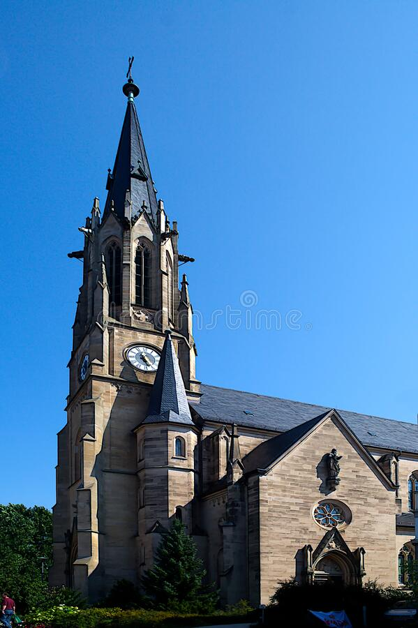 The Herz-Jesu-Kirche parish church is a Roman Catholic church in the city center of the Bavarian spa town of Bad Kissingen. The church is built in the form of royalty free stock image