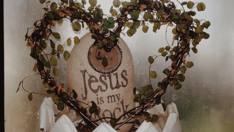 Herz, Jesus ist mein Felsen lizenzfreie stockbilder