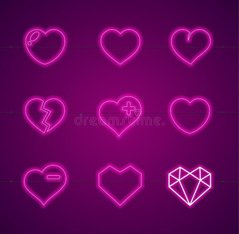 Herz-Leuchtreklamen verdünnen Linie Ikonen-Satz Vektor stock abbildung