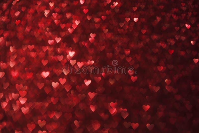 Herz-Lichter Hintergrund, Herz-Form-Rot-Scheine stock abbildung