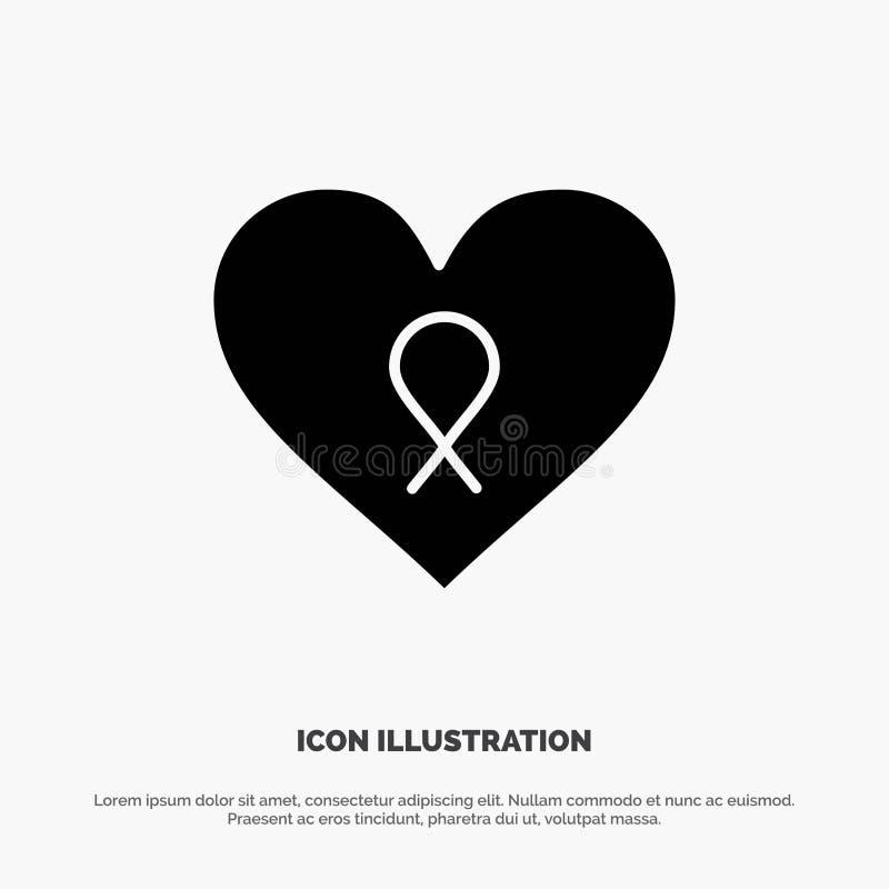 Herz, Liebe, Romance, geduldige feste schwarze Glyph-Ikone vektor abbildung
