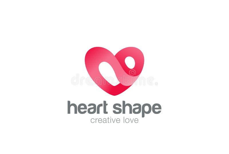 Herz-Logodesign-Vektorschablone St.-Valentinstag des Liebessymbols Kardiologie-medizinische Gesundheitswesen-Firmenzeichenkonzept lizenzfreie abbildung