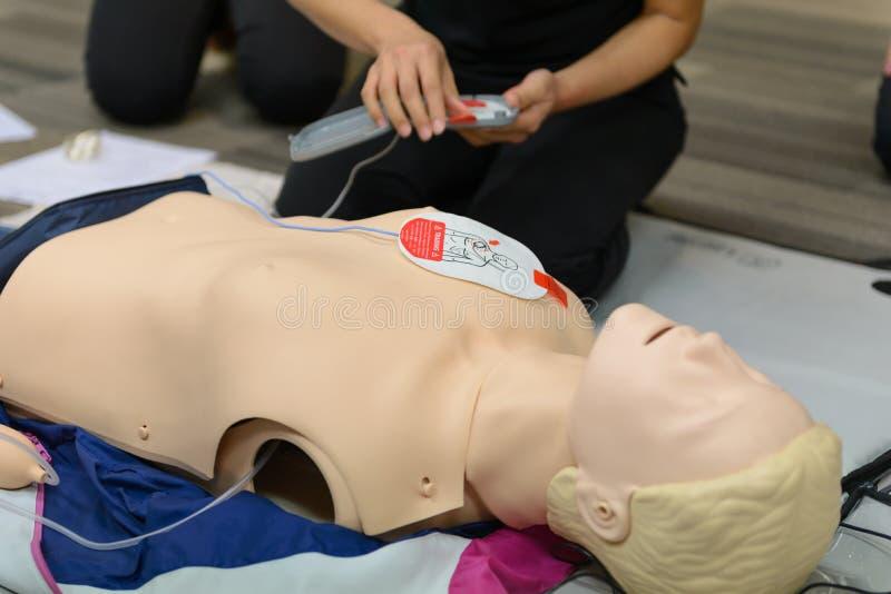 Herz-Lungen-Wiederbelebungs-Kurs der ersten Hilfe unter Verwendung AED-Trainings lizenzfreies stockbild