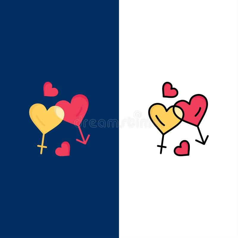 Herz, Mann, Frauen, Liebe, Valentine Icons Ebene und Linie gefüllte Ikone stellten Vektor-blauen Hintergrund ein lizenzfreie abbildung