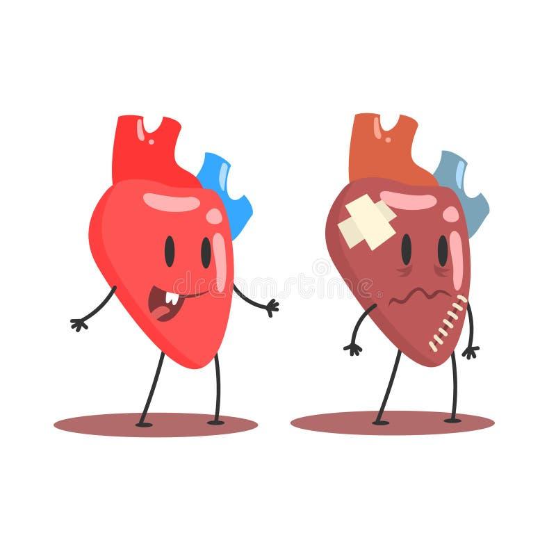 Herz-menschliches inneres Organ gesund gegen die ungesunden, medizinischen anatomischen lustigen Zeichentrickfilm-Figur-Paare im  stock abbildung