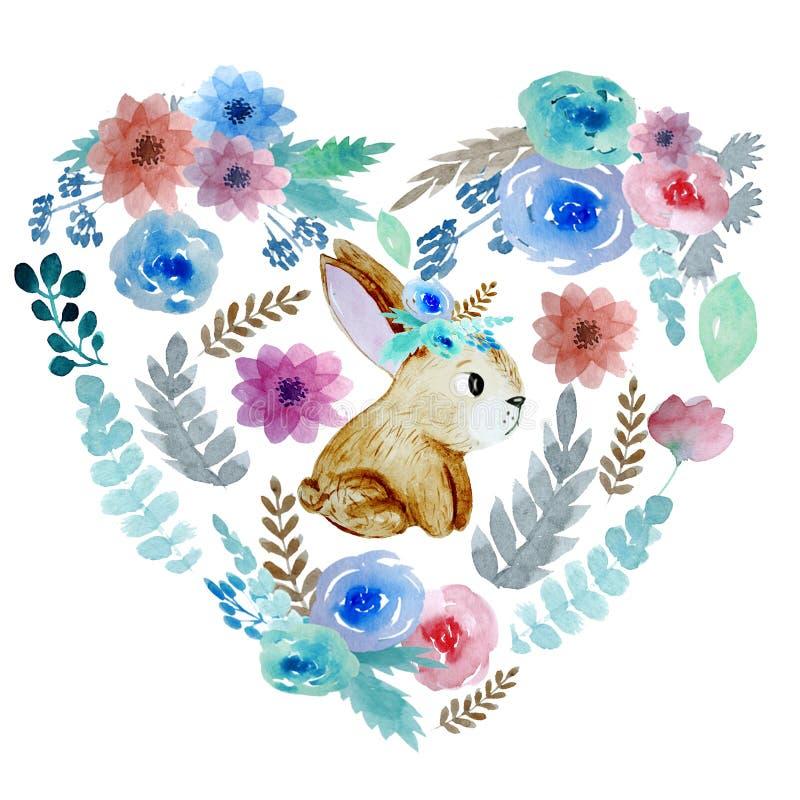 Herz mit Blumen und Kaninchen lizenzfreie abbildung