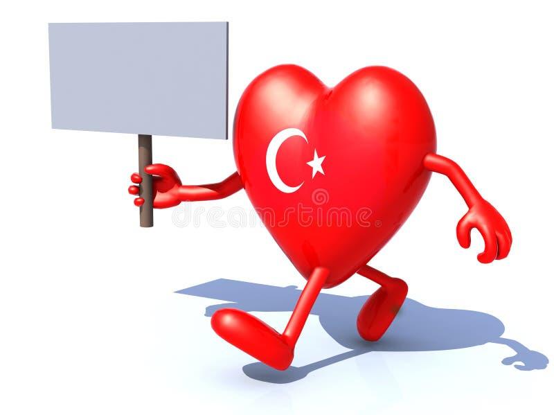 Herz mit den Armen und den Beinen und Truthahnflagge lizenzfreie abbildung