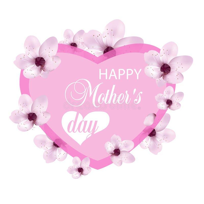 Herz mit der Kirsche blüht für Muttertag lokalisiert auf weißem Hintergrund Design für Poster, Fahnen oder Karten Vektor vektor abbildung
