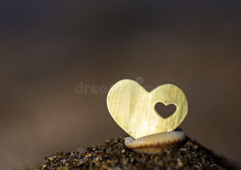 Herz mit einem Herzen in Shell stockbilder