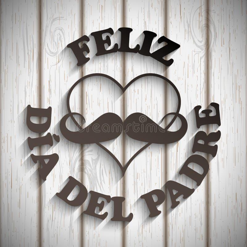 Herz mit einem Schnurrbart und einem Text Feliz dia Del padre lizenzfreie abbildung