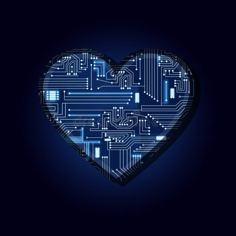Herz mit elektronischer Schaltung lizenzfreie abbildung