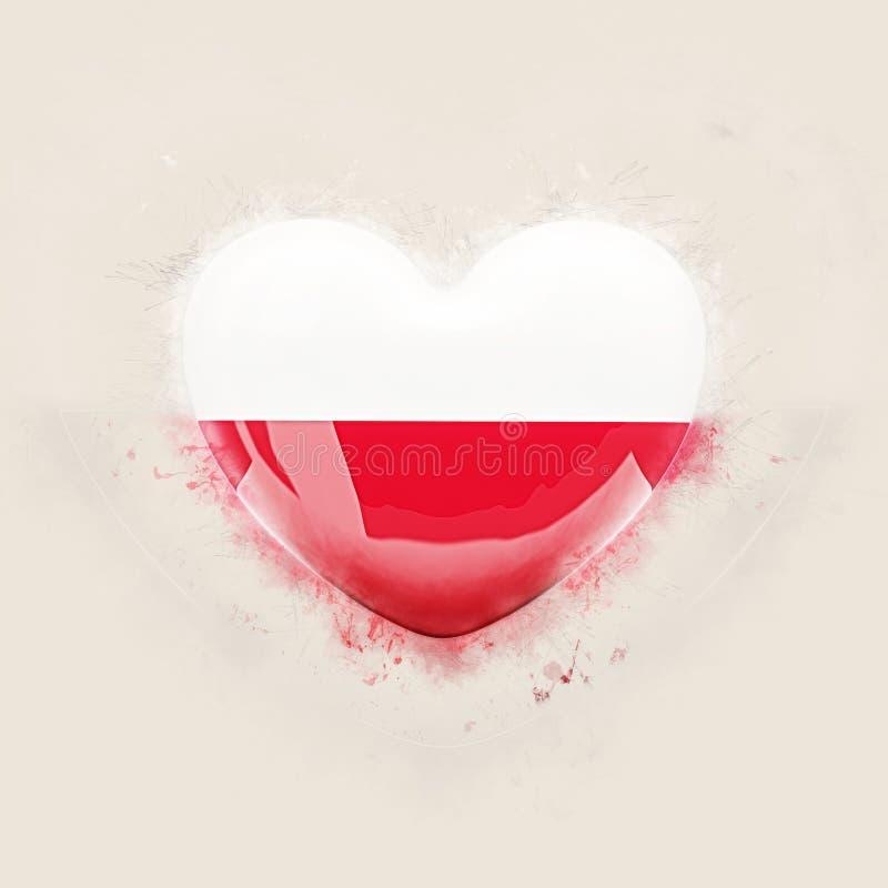 Herz mit Flagge von Polen stock abbildung